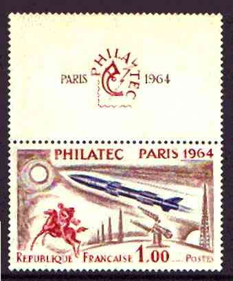 France 1964 'Philatec 1964' Stamp Exhibition (Rocket & Horseman) se-tenant with label unmounted mint SG 1651*