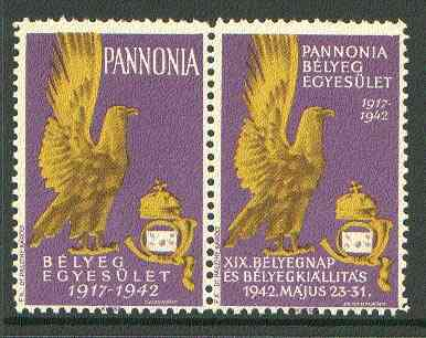Cinderella - Pannonia 1942 Eagle & posthorn se-tenant pair with purple background unmounted mint