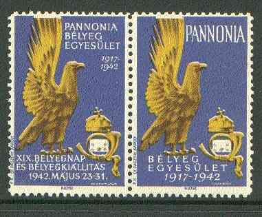 Cinderella - Pannonia 1942 Eagle & posthorn se-tenant pair with blue background unmounted mint