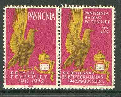 Cinderella - Pannonia 1942 Eagle & posthorn se-tenant pair with magenta background unmounted mint