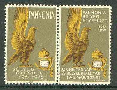 Cinderella - Pannonia 1942 Eagle & posthorn se-tenant pair with olive background unmounted mint