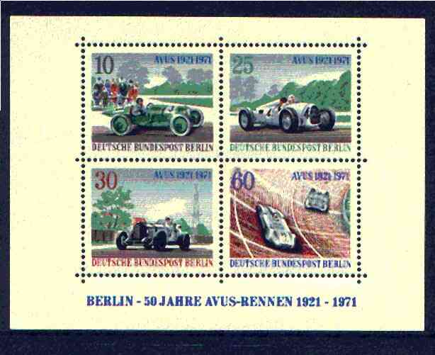 Germany - West Berlin 1971 Anvus Motor Racing Track m/sheet unmounted mint, SG MS B395