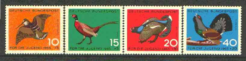 Germany - West 1965 Child Welfare (Game Birds) set of 4 unmounted mint, SG 1384-87*