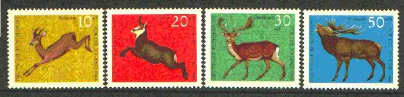 Germany - West 1966 Child Welfare (Deer) set of 4 unmounted mint, SG 1416-18*