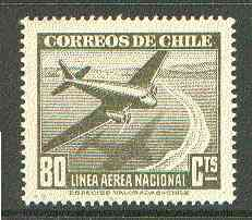 Chile 1941 Douglas DC-2 80c olive unmounted mint SG 302*, stamps on aviation, stamps on douglas