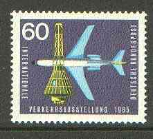 Germany - West 1965 Boeing 727 & Space capsule 60pf from Transport Exhibition set unmounted mint SG 1394*