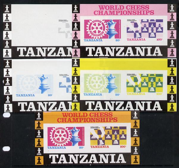 Tanzania 1986 World Chess/Rotary m/sheet set of 5 unmounted mint imperf progressive colour proofs incl all 4 colours (as SG MS 463)