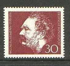 Germany - West 1966 Werner von Siemens (electrical engineer) unmounted mint SG 1433*