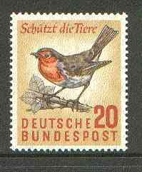 Germany - West 1957 European Robin 20pf unmounted mint SG 1194*