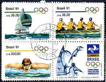 Brazil 1991 Pan-American Games & Olympics set of 3 in se-tenant block with label (yachting, Rowing, Swimming) very fine used SG 2471-73