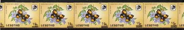 Lesotho 1986-88 Butterflies Yellow Pansy 15s on 5s unmounted mint strip of 7 with progressive shift of surch (bars top & bottom) SG 727