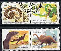 Brazil 1991 Butantan Institute & National Museum set of 4 (2 se-tenant pairs) very fine used SG 2481-84