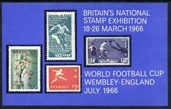Exhibition souvenir sheet for 1966 National Stamp Exhibition showing Football stamps (30,000 produced) unmounted mint