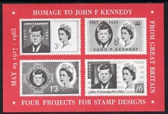 Exhibition souvenir sheet for 1963 Hilton Exhibition showing 4 essays for Great Britain Kennedy issue unmounted mint