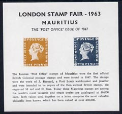 Exhibition souvenir sheet for 1963 London Stamp Fair showing Post Office Mauritius 1d & 2d stamps unmounted mint (7,000 issued)