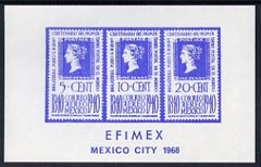 Exhibition souvenir sheet for 1968 Efimex Mexico Stamp Exhibition showing 3 Centenary stamps printed in blue unmounted mint