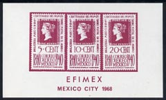 Exhibition souvenir sheet for 1968 Efimex Mexico Stamp Exhibition showing 3 Centenary stamps printed in purple unmounted mint