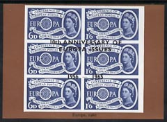 Exhibition souvenir sheet for 1965 - 10th Anniversary of Europa Issues, brown border unmounted mint