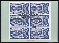 Exhibition souvenir sheet for 1965 - 10th Anniversary of Europa Issues, blue border unmounted mint