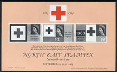 Exhibition souvenir sheet for 1963 North East Stampex showing Great Britain Red cross stamps (produced by Harrison & Sons) unmounted mint