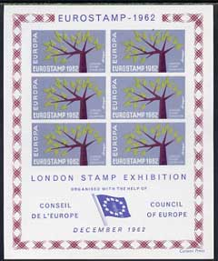Exhibition souvenir sheet for 1962 London Stamp Exhibition showing Europa 'Tree' stamps block of 6 (blue-grey background) unmounted mint