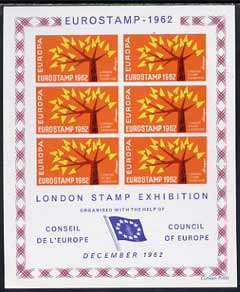 Exhibition souvenir sheet for 1962 London Stamp Exhibition showing Europa 'Tree' stamps block of 6 (orange background) unmounted mint