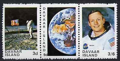 Davaar Island 1970 Apollo 11 Moon Landing unmounted mint perf set of 3