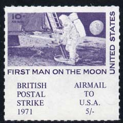 Cinderella - United States 1971 Rouletted 5s blue (1969 Man on Moon Stamp) produced for use during Great Britain Postal strike, unmounted mint
