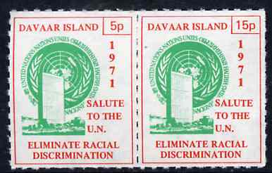 Davaar Island 1971 Rouletted 5p & 15p red & green se-tenant pair (Salute to the UN - Racial Discrimination) produced for use during Great Britain Postal strike unmounted mint, stamps on strike, stamps on united nations, stamps on racism, stamps on human rights