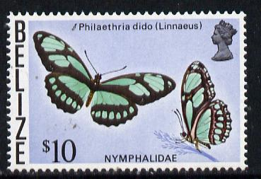 Belize 1974 Butterfly $10 (Philaethria dido) def top value, unmounted mint SG 395*