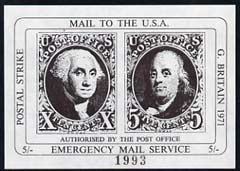 Cinderella - United States 1971 imperf 5s black m/sheet (1847 Washington & Franklin stamps) produced for use during Great Britain Postal strike unmounted mint