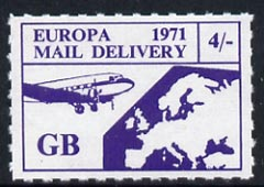 Cinderella - Great Britain 1971 Rouletted 4s purple (Europe Airmail rate) produced for use during Great Britain Postal strike unmounted mint