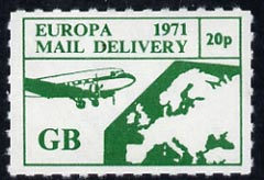 Cinderella - Great Britain 1971 Rouletted 20p green (Europe Airmail rate) produced for use during Great Britain Postal strike unmounted mint