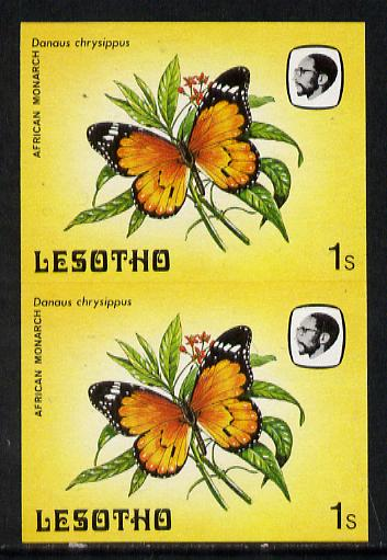 Lesotho 1984 Butterflies African Monarch 1s in unmounted mint imperf pair