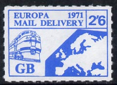 Cinderella - Great Britain 1971 Rouletted 2s6d blue (Europe surface rate) produced for use during Great Britain Postal strike unmounted mint