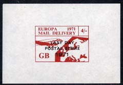 Cinderella - Great Britain 1971 imperf 4s red-brown m/sheet (Europe Airmail rate) produced for use during Great Britain Postal strike opt'd Last Day of Postal Strike unmounted mint