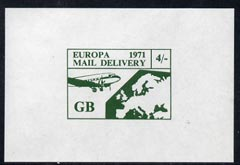 Cinderella - Great Britain 1971 imperf 4s green m/sheet (Europe Airmail rate) produced for use during Great Britain Postal strike unmounted mint