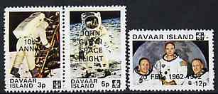 Davaar Island 1972 John Glenn Flight Anniversary opt on 1970 Apollo 11 Moon Landing unmounted mint perf set of 3