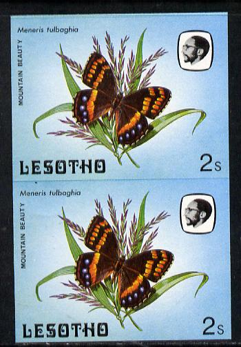 Lesotho 1984 Butterflies Mountain Beauty 2s in unmounted mint imperf pair