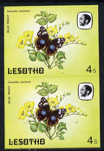 Lesotho 1984 Butterflies Blue Pansy 4s in unmounted mint imperf pair
