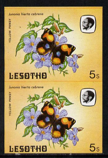 Lesotho 1984 Butterflies Yellow Pansy 5s in unmounted mint imperf pair