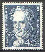 Germany - West 1959 Death Centenary of Alexander von Humboldt (naturalist) unmounted mint SG 1226