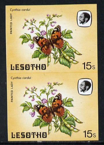 Lesotho 1984 Butterflies Painted Lady 15s in unmounted mint imperf pair, extremely scarce