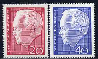 Germany - West 1964 Re-election of Pres L�bke set of 2 unmounted mint SG 1342-43*