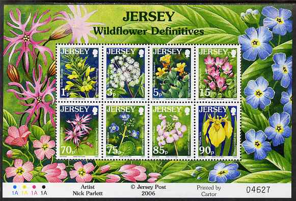 Jersey 2005-07 Wild Flowers perf m/sheet of 8 (1p, 3p, 5p, 15p, 70p, 75p, 85p, 90p) unmounted mint, SG MS1234b