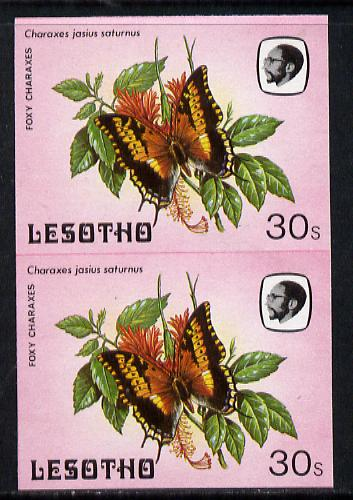 Lesotho 1984 Butterflies Foxy Charaxes 30s in unmounted mint imperf pair