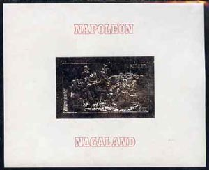 Nagaland 19?? Napoleon on Horseback 5ch value imperf deluxe sheet embossed in silver on thin card