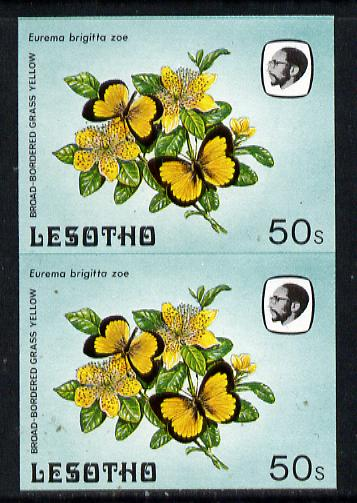 Lesotho 1984 Butterflies Broad-Bordered Grass Yellow 50s in unmounted mint imperf pair