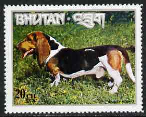 Bhutan 1973 Basset Hound 20ch from Dogs set unmounted mint, Mi 539*