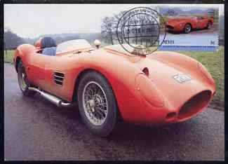 Nevis 1985 Ferrari Testa Rossa 5c (Leaders of the World) on appropriate illustrated postcard with first day cancel